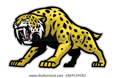 Vector of Ferocious Sabertooth Mascot Stock photo ©