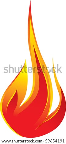 Vector of fire over white background