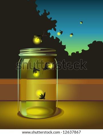 vector of fireflies escaping a glass jar - stock vector