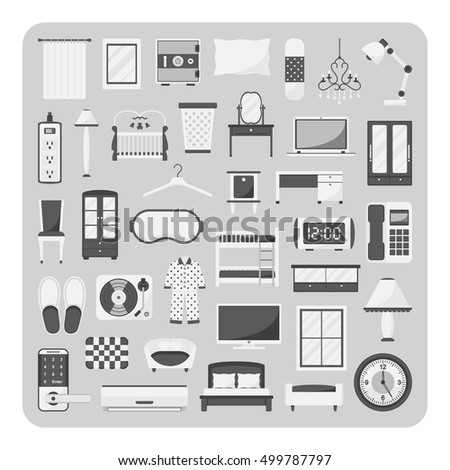 vector of flat icons  bedroom