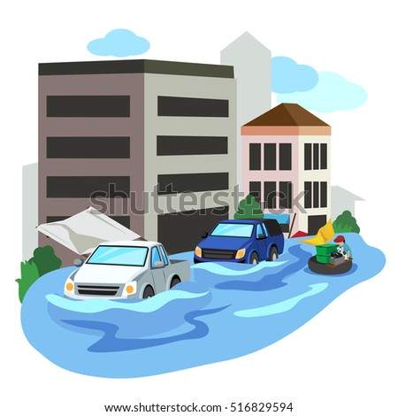 vector of flooded city car and