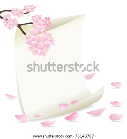 vector of flowering branch with frame and pink petals, season spring, landscape