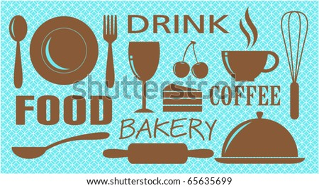 Vector of food,drink,bakery and coffee design