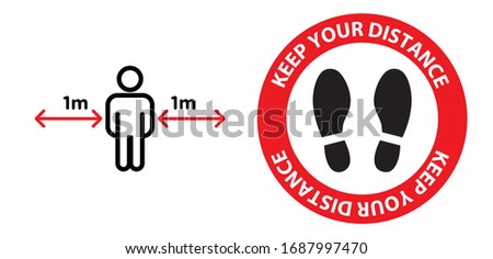 Vector of footprint sign red color with text keep your distance, 1m social distancing for print floor. Social distancing concept. protection from Covid-19, Coronavirus outbreak spreading illustration