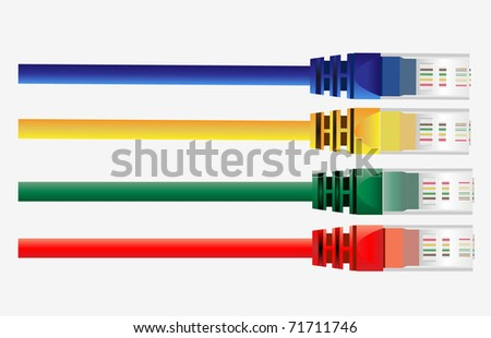Vector of four  color  cables. Red, Yellow, Green, Blue Color