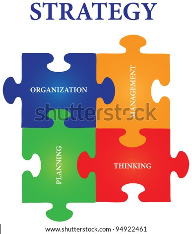 Vector of four jigsaw puzzle pieces with words on the topic of strategy.