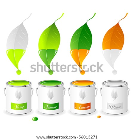Vector of four leaves dipped in paint cans containing colours representing the four seasons, Spring, Summer, Autumn and Winter. JPG and TIFF versions of this image are also available in my portfolio.