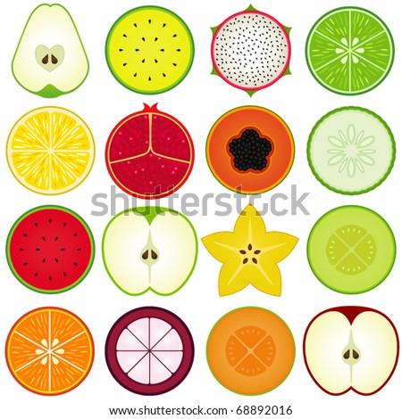 vector of fresh fruit
