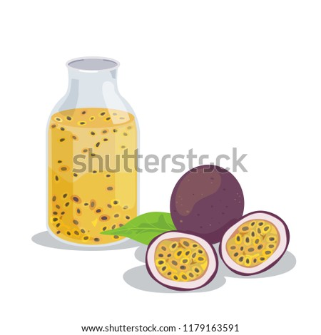 Vector of fresh passion fruits and passion fruits juice.
