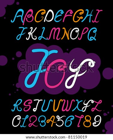 vector of fun and abstract font