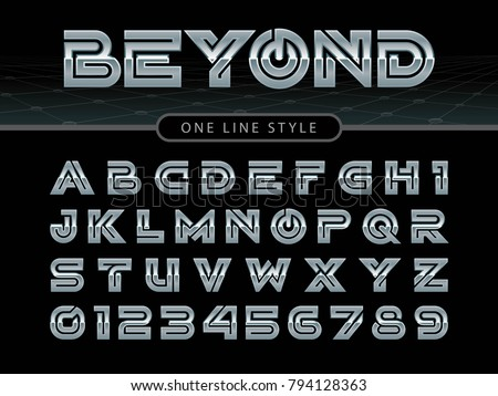 vector of futuristic alphabet