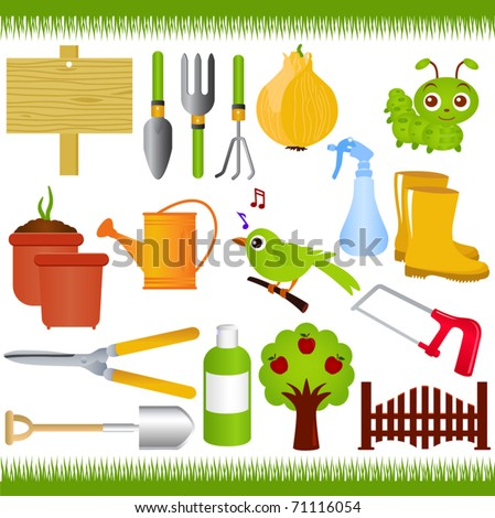 Vector of Gardening tools and garden equipments with green grass. A set of cute and colorful icon collection isolated on white background