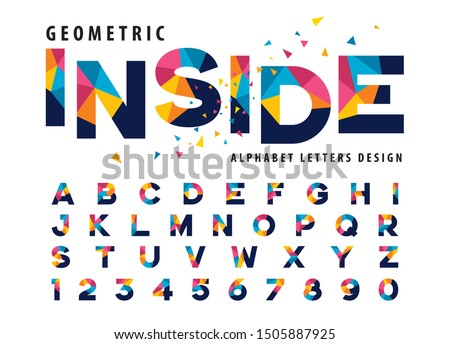 Vector of Geometric Alphabet Letters and numbers, Modern Colorful Triangle Letter, Fonts set for Celebrate, Party, Fashion. Festival, Entertainment, Happy new year, Sale Promotion, Fun Fair