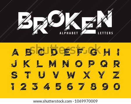 Vector of Glitch Modern Alphabet Letters and numbers, Grunge linear stylized rounded fonts, Minimal Letters set for Futuristic, Broken, universal, Branding & Identity