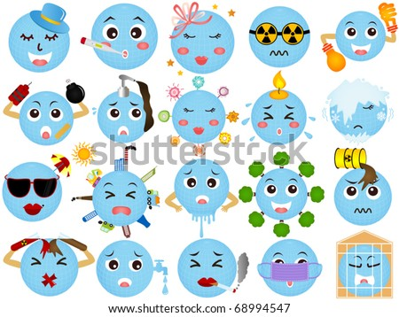 Vector of Global warming, Environmental Change, Earth destruction. A set of cute and colorful icon collection isolated on white background