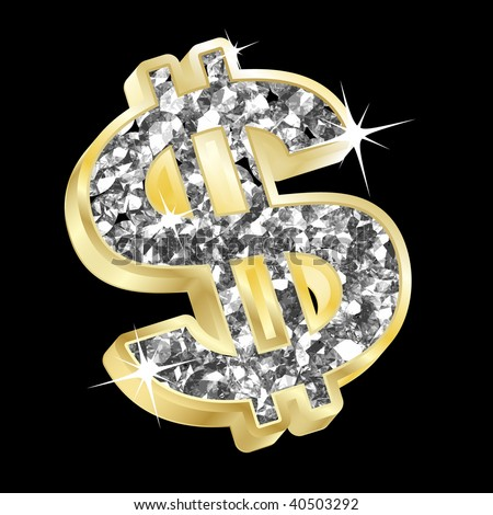 vector of gold and diamond dollar
