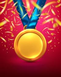 Vector of Gold medal.Winner or Award of Victory concept.Vector illustration eps 10