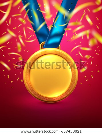 Vector of Gold medal.Winner or Award of Victory concept.Vector illustration eps 10