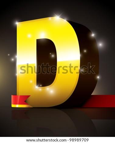 vector of golden metallic alphabet