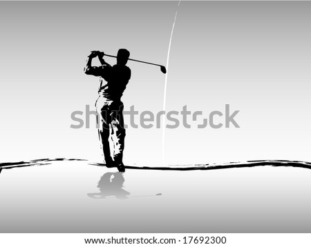 Vector of golfer driving in silhouette in gray