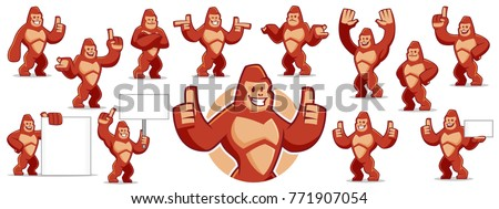 Vector of Gorilla mascot character set