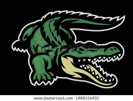 vector of green crocodile roaring mascot Foto stock ©