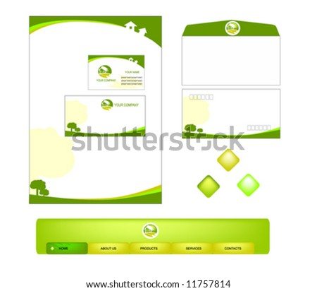 vector of green office stationery set  | for house agent or others more as your like business, business card,envelop,website button and icons template