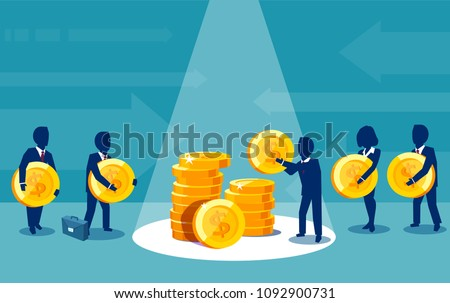 Vector of group of businesspeople paying money making financial contributions  Zdjęcia stock ©