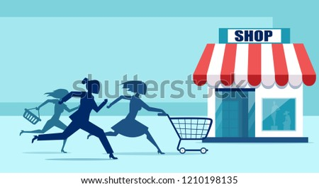 Vector of group of shopper women in a hurry running to sale discount shop for a promotion event