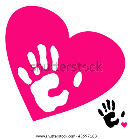 vector of hand and heart