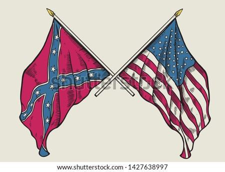 vector of hand drawing of crossing usa flag and confederate flag Сток-фото ©