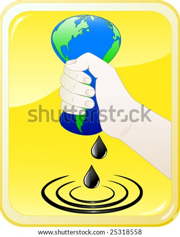Vector of hand squeezing oil yellow