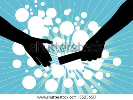 vector of handing baton from one person to another symbolizing partnership