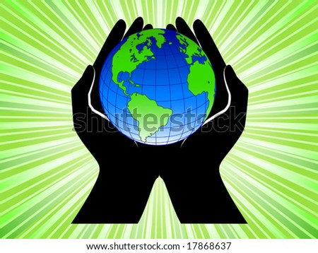 Vector of hands holding earth on shiny green background