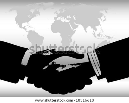 Vector of handshake in front of world map background in gray