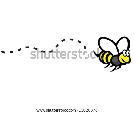 vector of happy bee with flight path