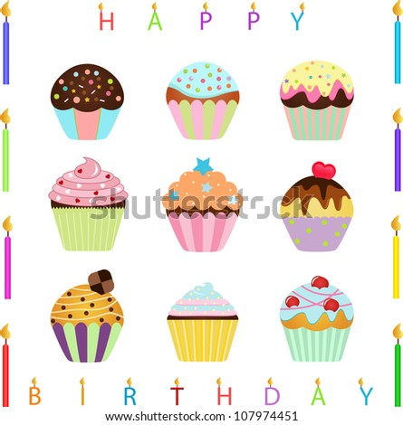 Vector of Happy Birthday Candles, sweet Cupcake with different toppings. A set of cute and colorful icon collection isolated on white background