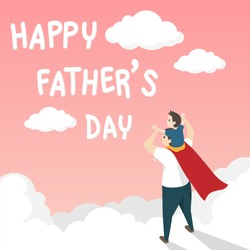 vector of happy father's day greeting card. Dad in superhero's costume giving son ride on shoulder with text happy father's day over the white cloud on pink background