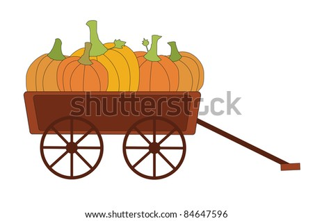 vector of harvest pumpkins in wagon, with fall autumn colors of orange, yellow, and red, isolated on white background for Thanksgiving