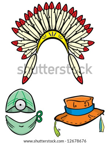 vector of 3 hats, Native American headdress, surgeon mask and cap, fishing hat