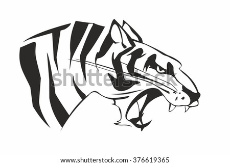 Vector Of Head Of Large Aggressive Tiger An Image Is Isolated On A