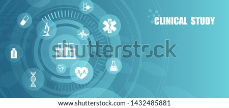 Vector of healthcare laboratory clinical study icons, scientific discovery banner