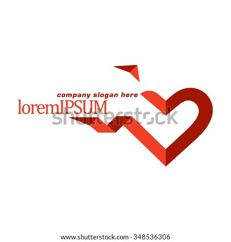 Vector of heart icon. Business icon for the company. Abstract symbol.  Logo for charity, health, voluntary, non profit organization, isolated on white background. Illustration.