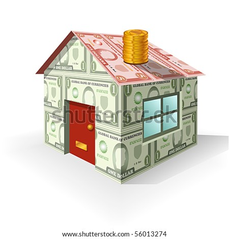 Vector of house made from money as a concept on property value. JPG and TIFF versions of this image are also available in my portfolio.