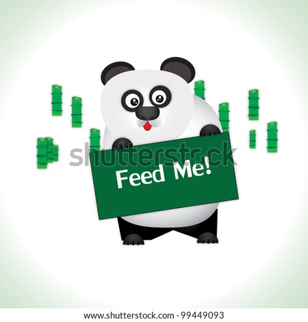 Vector of Hunger panda with less bamboo in background, Saving the world concept.