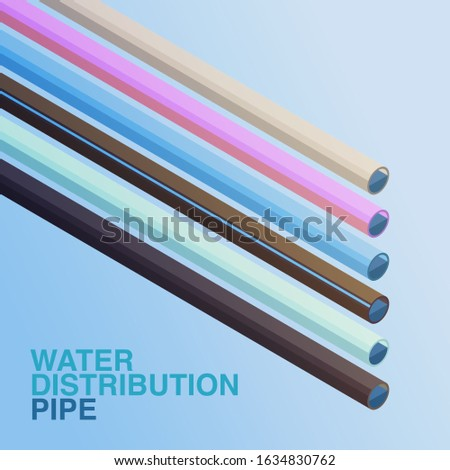 Vector of illustration pipes use in water distribution with difference materials: Asbestos Cement, Polybuthylene, Polyvinyl Chloride, High Density Polyethylene, Galvanized Steel Pipe, Steel.
