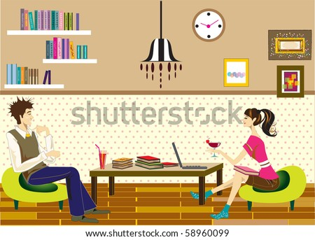 vector of illustrations. Teenagers studying in cafe.