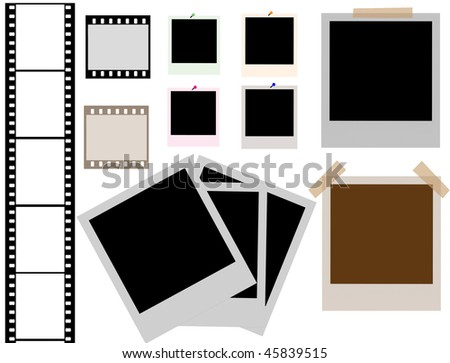 vector of isolated instant photo frames and film strip - more available