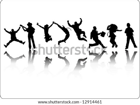 Vector of Jumping people