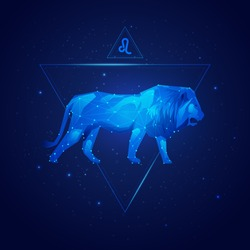 vector of leo horoscope sign in twelve zodiac with galaxy stars background, vector of polygon lion